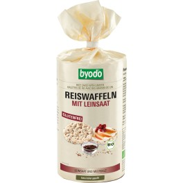 Byodo - Vafe de orez cu seminte de in, fara gluten, 100 gr