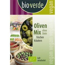 Bio-verde - masline amestecate, fara samburi, cu mirodenii, 150 gr