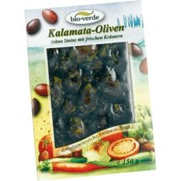 Bio-verde masline negre Kalamata, fara sambure, cu mirodenii
