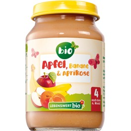 Lebenswert  bio -  Piure mere, banane si caise, 190 gr