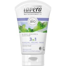 lavera 3 in 1 Curatare - Peeling - Masca, Menta bio
