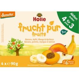 Holle Pachet multiplu, Piure de banane , mere, pere si caise, 4x90 gr pachet